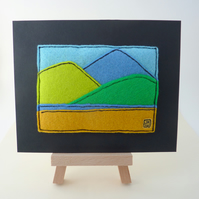 Three Mountains - Tiny Felt Applique Picture
