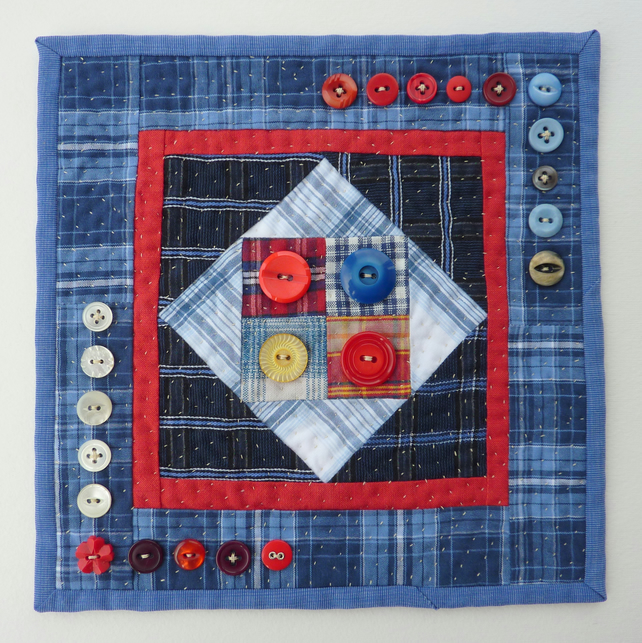Patchwork and Quilting with Vintage Buttons - Mini Wall Hanging - SALE ITEM