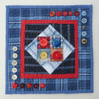Country Style Patchwork and Quilting with Vintage Buttons - Mini Wall Hanging
