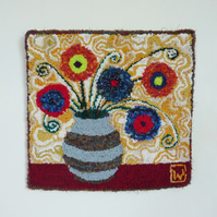 Flowers in a Vase - Punch Needle Rag Rug Wall Hanging