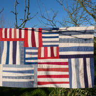 Red, White and Blue Textile Wall Hanging - Bars and Stripes No 3