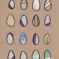 Handmade Card - Original Collage - 16 Eggs No. 2 - Recycled - Eco