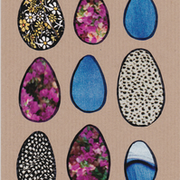 Handmade Card - Original Collage - 9 Eggs - Recycled - Eco