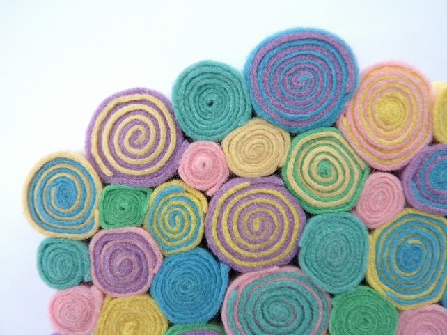 "Circles and Spirals Wall Hanging - ""Sugared Almonds"" felt decoration - pastels"