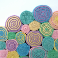 "Circles and Spirals Wall Hanging - ""Sugared Almonds"" felt decoration - SALE ITEM"