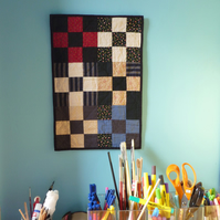 Six Crosses - Patchwork Quilt, Small Wall Art Hanging