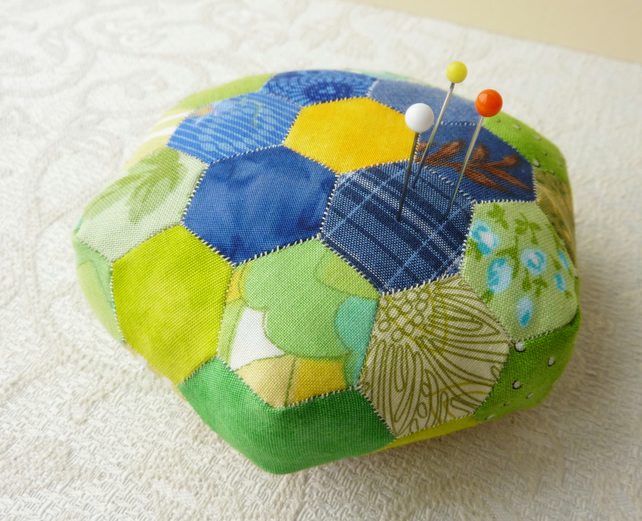 Hexagonal Patchwork Pin Cushion - eco friendly, re-purposed fabrics