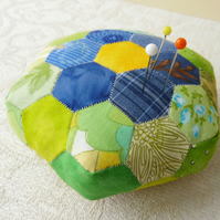 Hexagonal Patchwork Pin Cushion - eco friendly, re-purposed fabrics - SALE ITEM