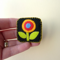 Little Felt Flower - Hand Sewn Textile Brooch - SALE ITEM