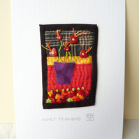 Heart Flowers - Hand Sewn Textile Applique Picture - SALE ITEM