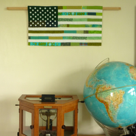 Green America No 2 Wall Hanging - handmade patchwork textile art flag