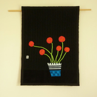 Red Flowers in a Vase - Wall Hanging - handmade appliqué textile art