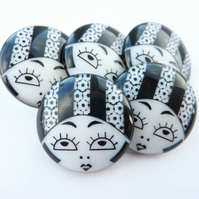 5 x 23mm Black & White Flapper Girl Buttons - Striped Hat Variation
