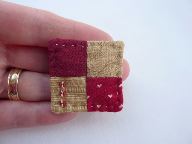Little Four Patch Hand Sewn Textile Brooch - Deep Red & Beige - SALE ITEM