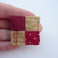 Little Four Patch Hand Sewn Textile Brooch - Deep Red and Beige 'Taupe' Fabrics