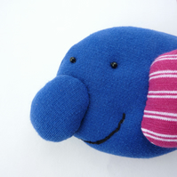 Happy Blobfish - Arthur - hand sewn hanging decoration - SALE ITEM