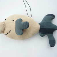 Happy Blobfish - Clive - hand sewn hanging decoration - SALE item