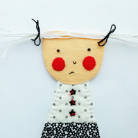 Grumpy Girl - Gretchen - Wall Hanging Figure - Art Doll
