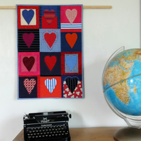 Twelve Hearts Patchwork and Appliqué Wall Hanging - textile art - SALE item