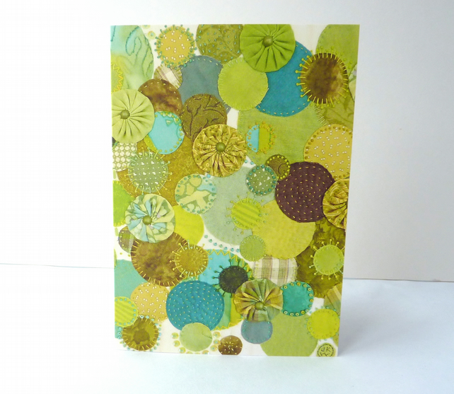 "Printed Art Card - ""Green Profusion"" Appliqué & Embroidery Image -  Spring"