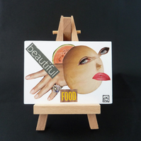 Beautiful Food - ACEO - Original Collage Art Card - Tiny Artwork