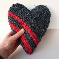 Heart Cushion - Hooked Heart Decoration - Denim Blue and Red - Rag Rug Technique