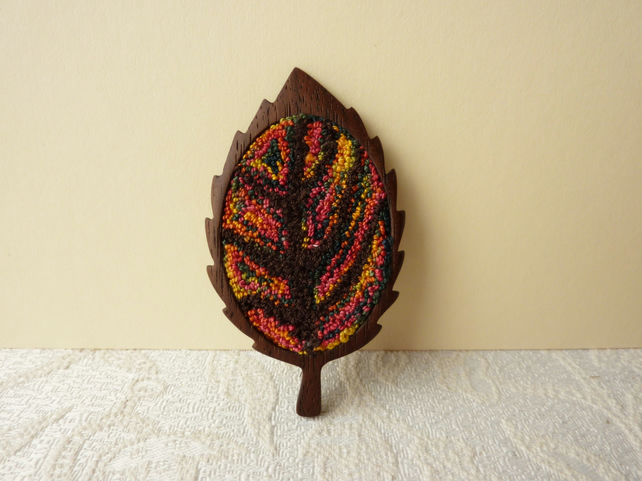 Punch Needle Embroidery and Wooden Leaf Brooch - SALE ITEM