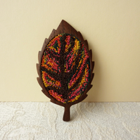 Punch Needle Embroidery and Wooden Leaf Brooch