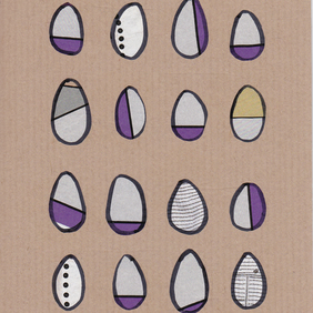 "Original Collage Greetings Card - ""12 Eggs plus 4"" - paper and ink collage"