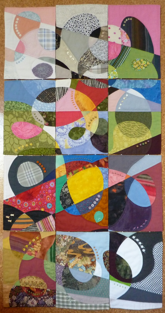 A Year In Colour - 12 x A4 Textile Art Panels - Abstract Pattern