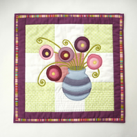 Flowers in a Vase - patchwork and felt appliqué wall hanging