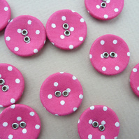 10 x Pink and White Polka Dot Buttons - fabric and metal - 20mm diameter