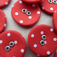 10 x Red and White Polka Dot Buttons - fabric and metal - 20mm diameter
