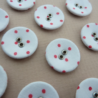 10 x White and Red Polka Dot Buttons - fabric and metal - 20mm diameter