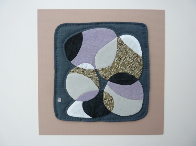 Ring of pebbles patchwork and appliqué textil folksy