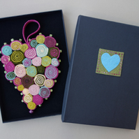 Heart Decoration - felt manipulation, with hand stitch and beading