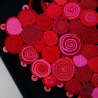 Red and Pink Heart Decoration - felt manipulation, with hand stitch and beading