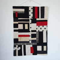 """Windows"" Textile Art Wall Hanging - Antique Finish - Red, Black and Off White"