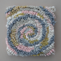 "Hooked Rug Technique Wall Art - ""Grey Spiral"" in soft, muted colours"