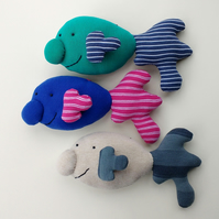 3 x Happy Blobfish - hand sewn hanging decoration - collectors' art dolls