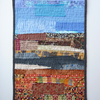 Abstract Landscape - small wall hanging with hand stitch - layers and strata
