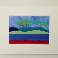 Distant Trees - Textile Landscape Picture