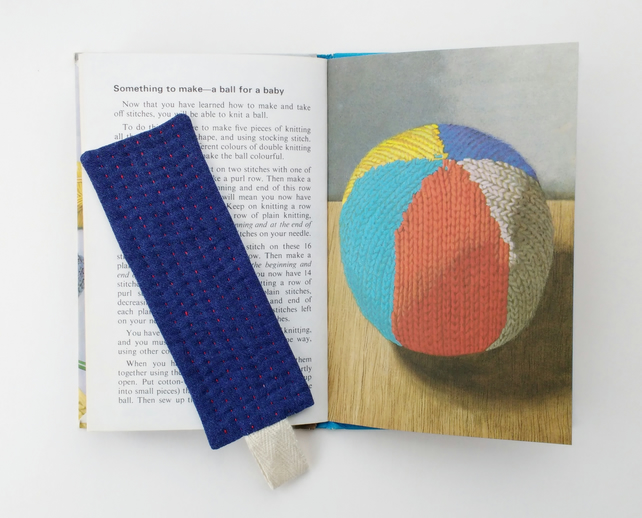 Patchwork Bookmark With Hand Stitch - Dark Blue and Red - Small Gift Idea