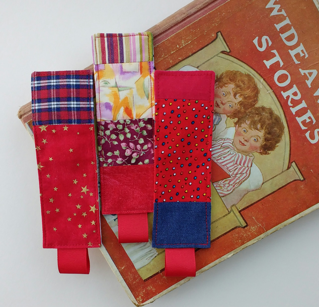 Three Patchwork Bookmarks - Red Set - Small Gift Idea