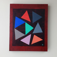 Nine Triangles No 2 - Rustic Abstract Art On Wooden Panel - Original Painting