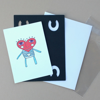 Heart Head Man No 4 - ACEO - Original Drawing Art Card