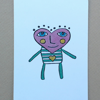Heart Head Man No 2 - ACEO - Original Drawing Art Card