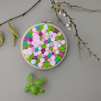 Blossom - Abstract Circles and Spirals Hoop Art in Pink, Green and White