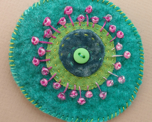 Kiwi Collection Brooch - Hand Sewn Felt and Fabric Applique Brooch