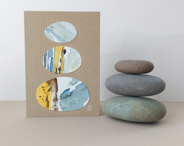 Original Collage Art Card - eco friendly blank greetings card Stacks Series No12